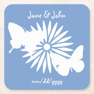 Daisies and Butterflies in Periwinkle Coaster