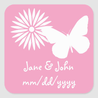 Daisies and Butterflies in Petal Pink Sticker