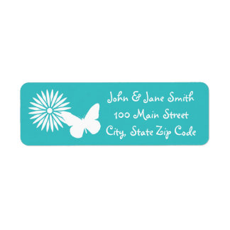 Daisies and Butterflies in Turquoise Address Label