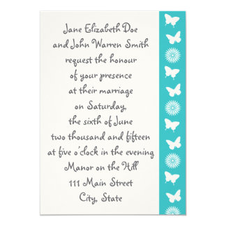 Daisies and Butterflies in Turquoise Invitation