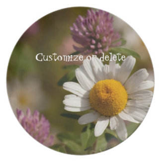 Daisies and Clover; Customizable Dinner Plate