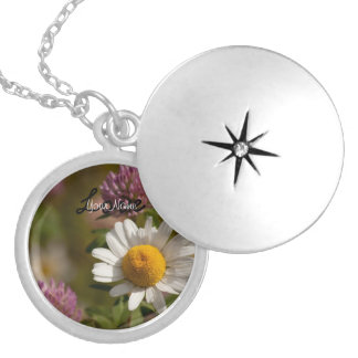 Daisies and Clover; Customizable Round Locket Necklace