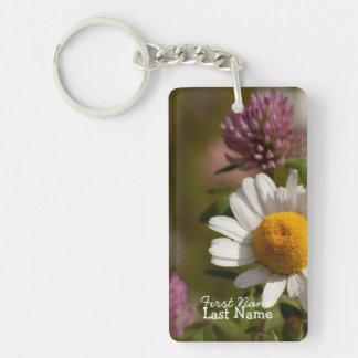 Daisies and Clover; Customizable Single-Sided Rectangular Acrylic Keychain