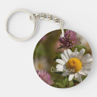 Daisies and Clover; Customizable Single-Sided Round Acrylic Keychain