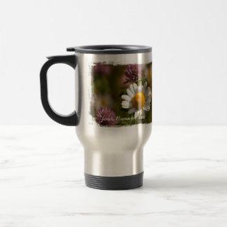 Daisies and Clover; Customizable Travel Mug