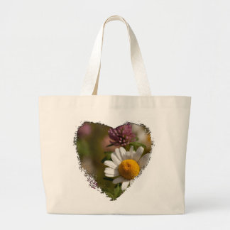 Daisies and Clover; No Text Large Tote Bag