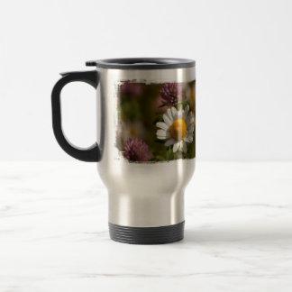 Daisies and Clover; No Text Travel Mug
