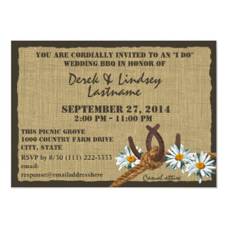Daisies and Horseshoes BBQ Wedding Reception Custom Invites