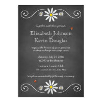 Daisies and Ladybugs Rustic Chalkboard Wedding Card (<em>$2.16</em>)