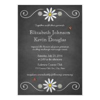 Daisies and Ladybugs Rustic Chalkboard Wedding 5x7 Paper Invitation Card (<em>$2.16</em>)
