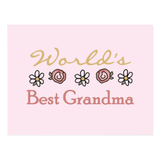 Daisies and Roses World Best Grandma Postcard