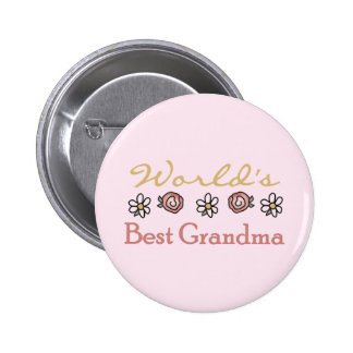 Daisies and Roses World's Best Grandma 2 Inch Round Button