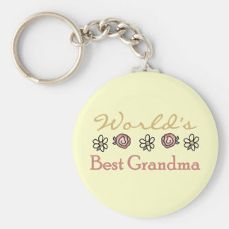 Daisies and Roses World's Best Grandma Basic Round Button Keychain