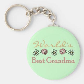 Daisies and Roses World's Best Grandma Keychain