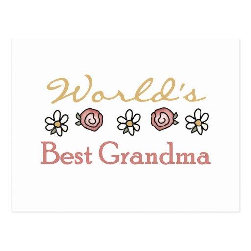 Daisies and Roses World's Best Grandma Postcard