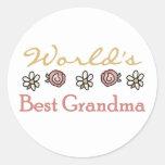 Daisies and Roses World's Best Grandma Classic Round Sticker