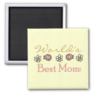 Daisies and Roses World's Best Mom 2 Inch Square Magnet