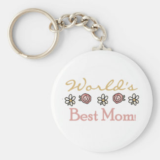 Daisies and Roses World's Best Mom Basic Round Button Keychain