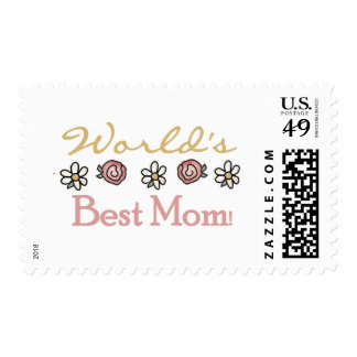 Daisies and Roses World's Best Mom Postage Stamp