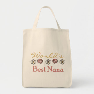 Daisies and Roses Worlds Best Nana Grocery Tote Bag