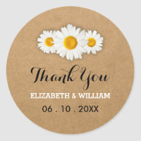 Daisies and Rustic Paper Wedding Thank You Classic Round Sticker