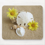 Daisies and Seashells on Beach Mouse Pad