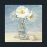 """Daisies and Shells Canvas Print<br><div class=""""desc"""">&#169; Danhui Nai / Wild Apple.  The image shows white daisies and shells placed along the seashore.</div>"""