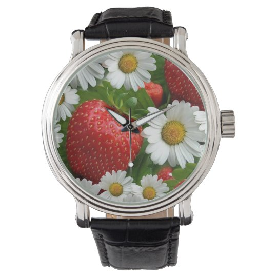 Daisies and Strawberries Wrist Watch