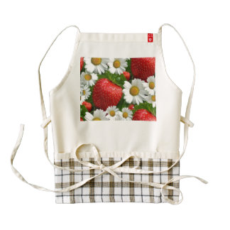 Daisies and Strawberries Zazzle HEART Apron