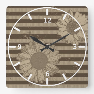 Daisies and Stripes Beige and Brown Wall Clock
