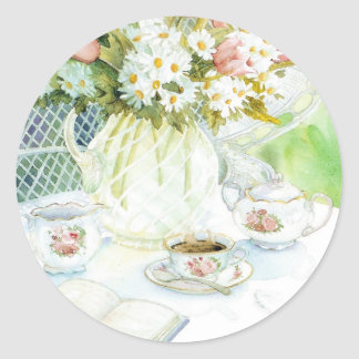 Daisies and Tulips and Tea Classic Round Sticker