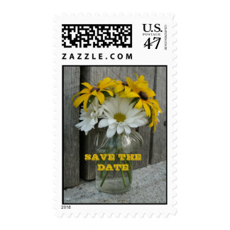Daisies, Black Eyed Susans, Barnwood Save The Date Postage