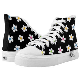 Daisies Black  Zipz Hig Top Shoes Canvas Men/Women