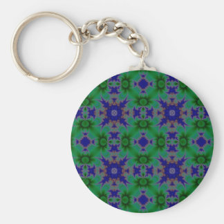 Daisies blue green retro kind Deco sample Keychain