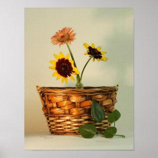 Daisies Bouquet Basket Print