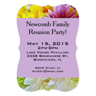 Daisies Bouquet Purple-Party Invitation Template