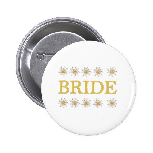 Daisies Bride Pinback Button