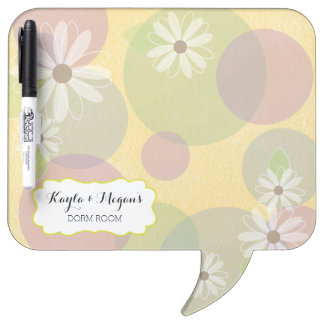 Daisies & Colored Circles Personalized Dorm Room Dry-Erase Board