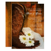 Daisies Cowboy Boots Country Engagement Party Card