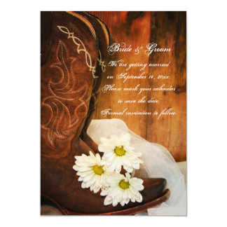 Daisies Cowboy Boots Country Wedding Save the Date 5x7 Paper Invitation Card