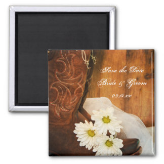 Daisies Cowboy Boots Country Wedding Save the Date 2 Inch Square Magnet
