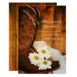 Daisies Cowboy Boots Country Western Wedding RSVP Card