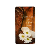 Daisies Cowboy Boots Wedding Thank You Favor Tags