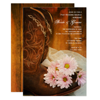 Daisies Cowboy Boots Western Post Wedding Brunch Card