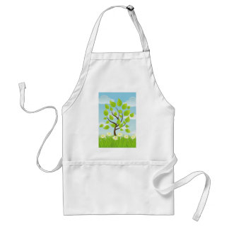 Daisies Dancing Around a Tree Adult Apron