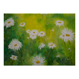Daisies in a Meadow White Flowers Poster