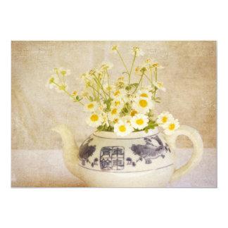 """Daisies in a Teapot 5"""" X 7"""" Invitation Card"""