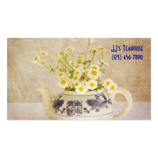 Daisies in a Teapot Business Card Template