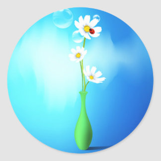 Daisies in a Vase Classic Round Sticker