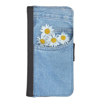 Daisies in denim pocket wallet phone case for iPhone SE/5/5s